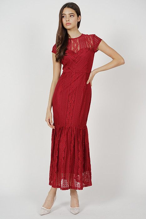 Agatha Lace Dress in Red