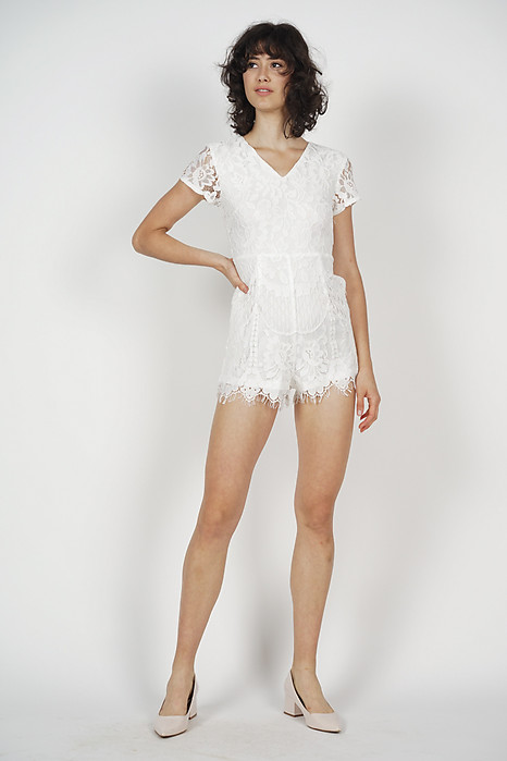Abegail Lace Romper in White - Arriving Soon