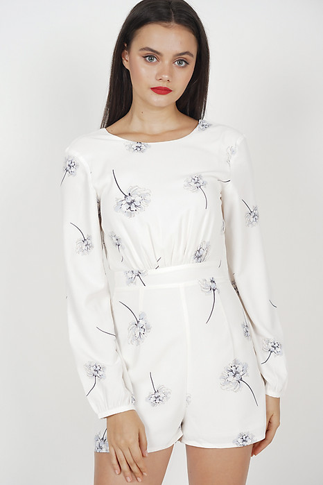 Acacia Gathered Romper in White Floral