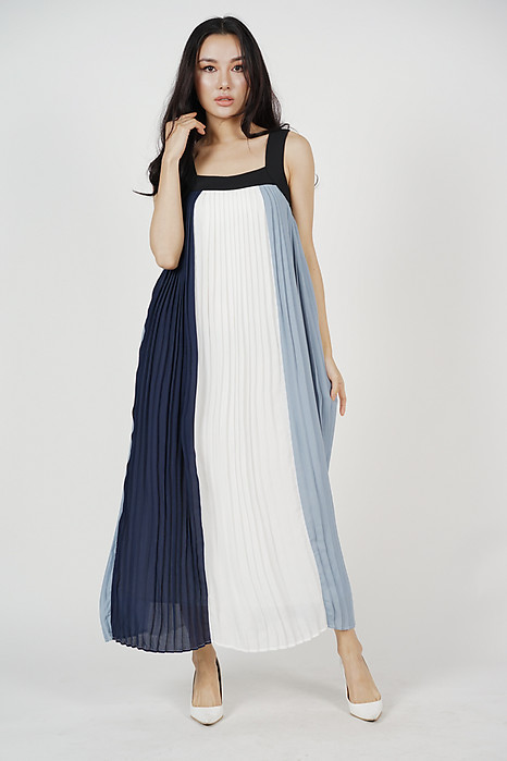Color-Block Pleated Dress in Blue - Arriving Soon