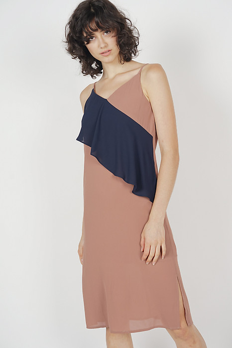 Malonea Ruffled Dress in Dark Taupe