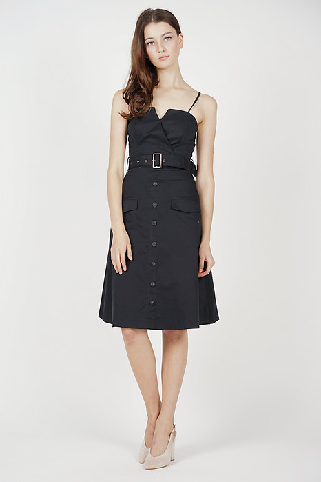 Desmonia Trench Dress in Midnight