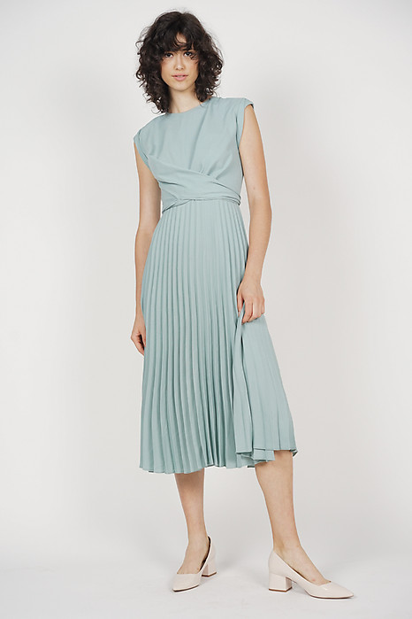Cross-Front Pleated Dress in Ash Blue - Arriving Soon