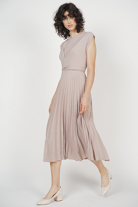 Cross-Front Pleated Dress in Taupe - Arriving Soon