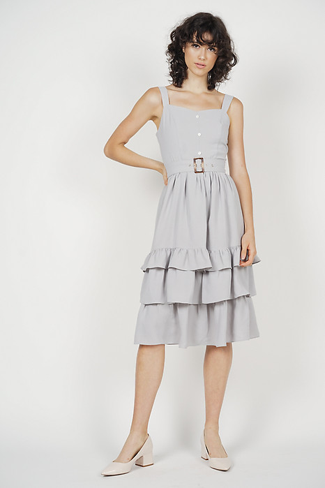 Odette Ruffled Dress in Grey