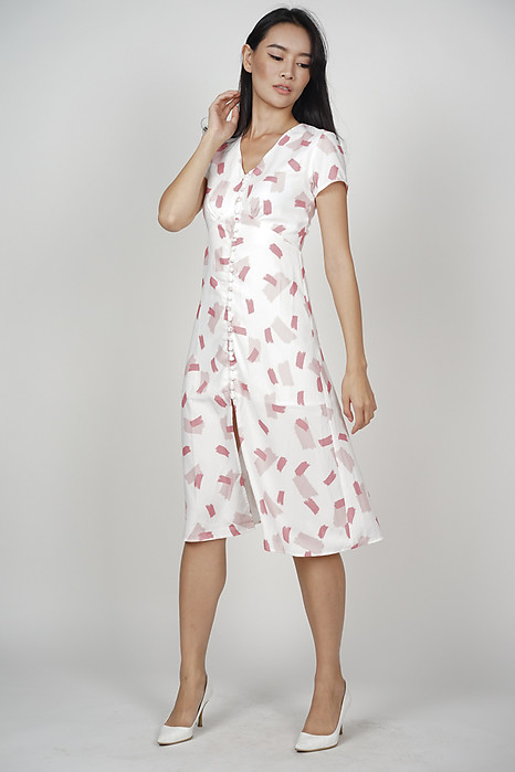 Kermin Button Dress in Pink Brush - Online Exclusive