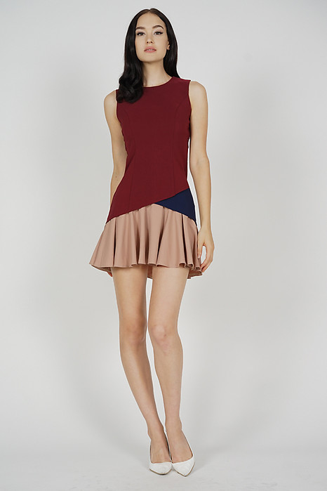Tarias Color-Block Dress in Oxblood - Arriving Soon