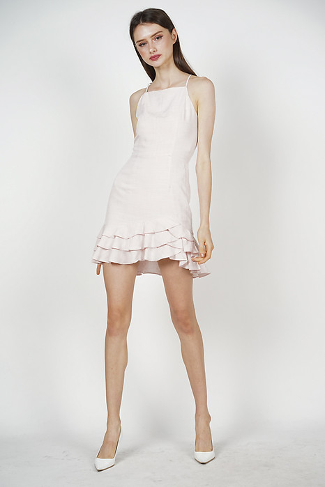 Agnes Ruffled Dress in Light Pink