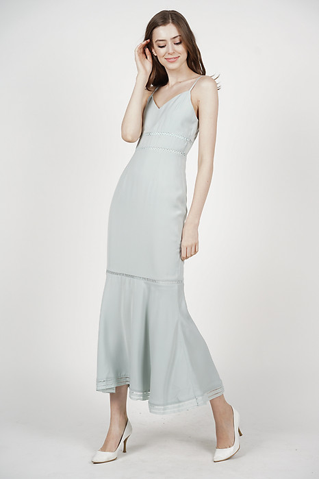 Carli Ruffled-Hem Dress in Ash Blue - Arriving Soon
