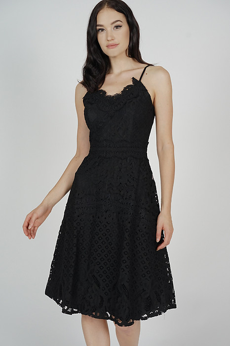 Rachelle Crochet Dress in Black