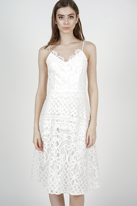 Rachelle Crochet Dress in White