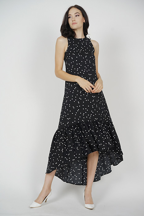 Maloda Ruffled-Hem Dress in Black Polka Dots