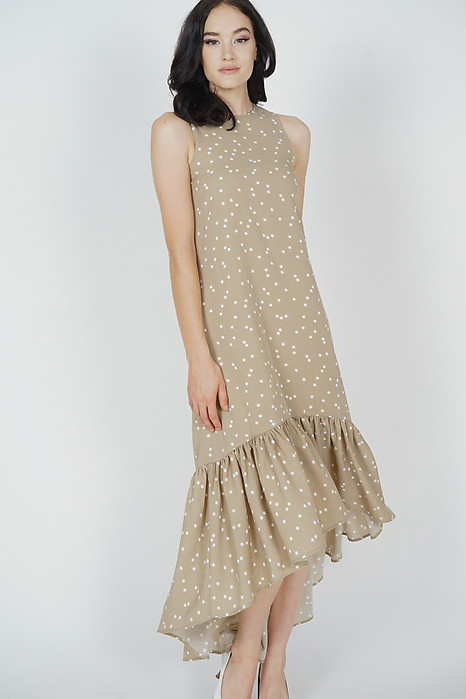 Maloda Ruffled-Hem Dress in Taupe Polka Dots