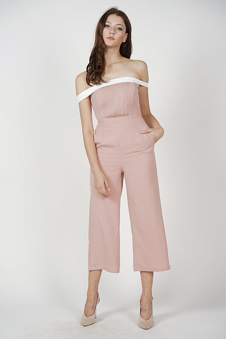 Krissa Pleated Jumpsuit in Blush