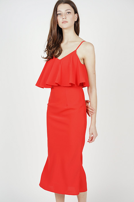 Mallory Overlay Dress in Red