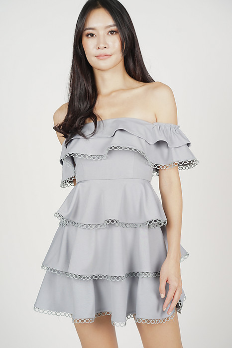 Ashley Flounce Dress in Grey - Arriving Soon