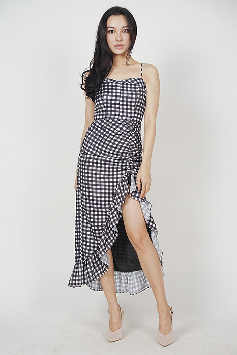 Kyros Ruffled Dress in Black Gingham