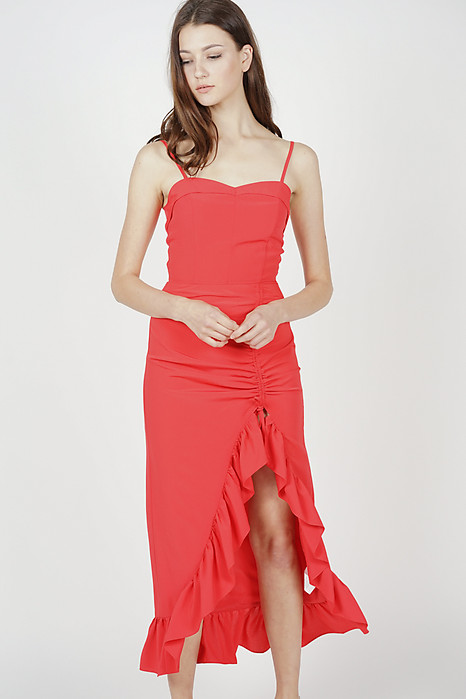 Kyros Ruffled Dress in Red