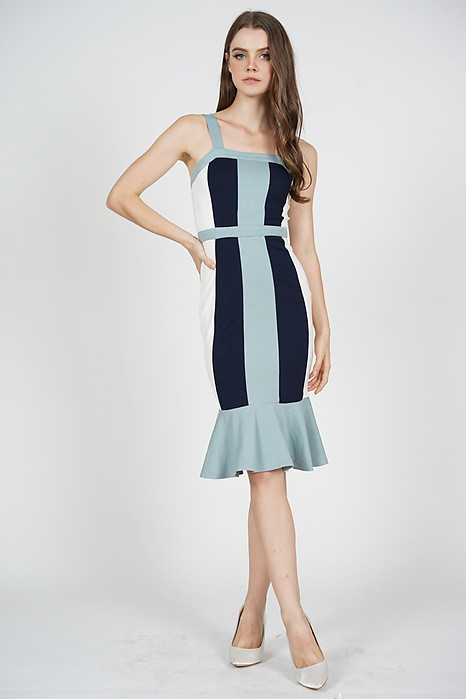 Dallas Contrast Dress in Ash Blue - Arriving Soon