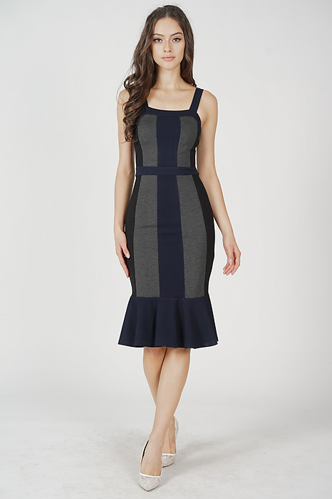 Dallas Contrast Dress in Grey Midnight - Arriving Soon