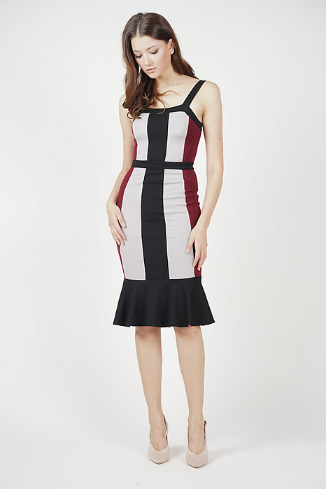 Dallas Contrast Dress in Oxblood - Arriving Soon
