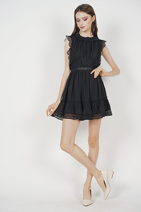 Kodie Crochet Dress in Black