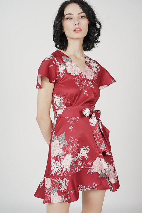 Racquel Flutter Ruffled Dress in Maroon Floral - Arriving Soon