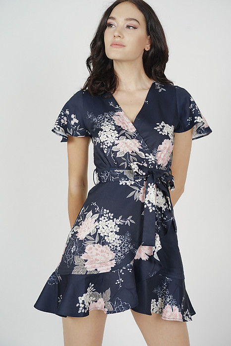 Racquel Flutter Ruffled Dress in Midnight Floral