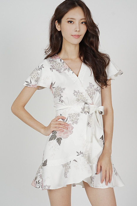 Racquel Flutter Ruffled Dress in White Floral