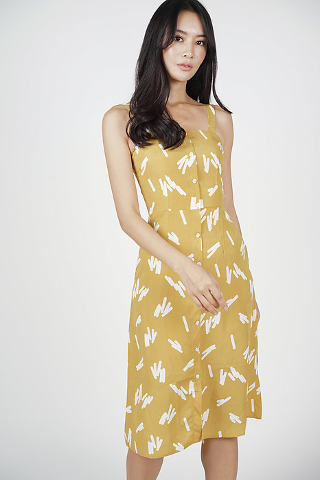 Crissie Midi Dress in Mustard