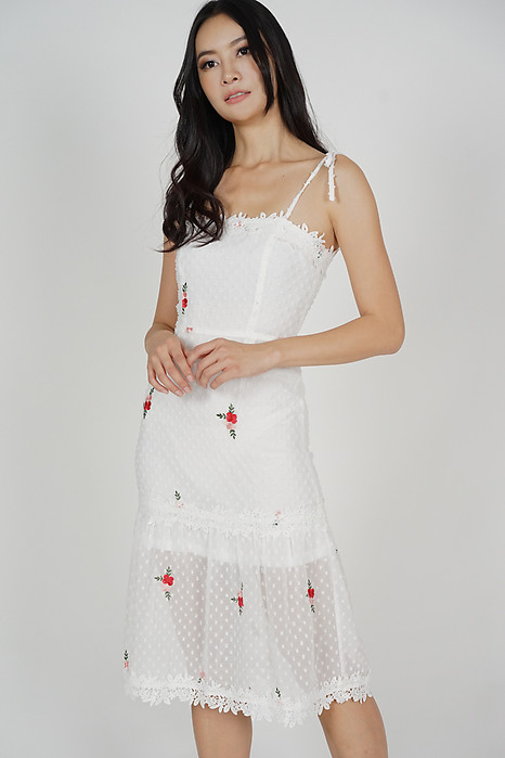 Naila Cami Dress in White Red Floral