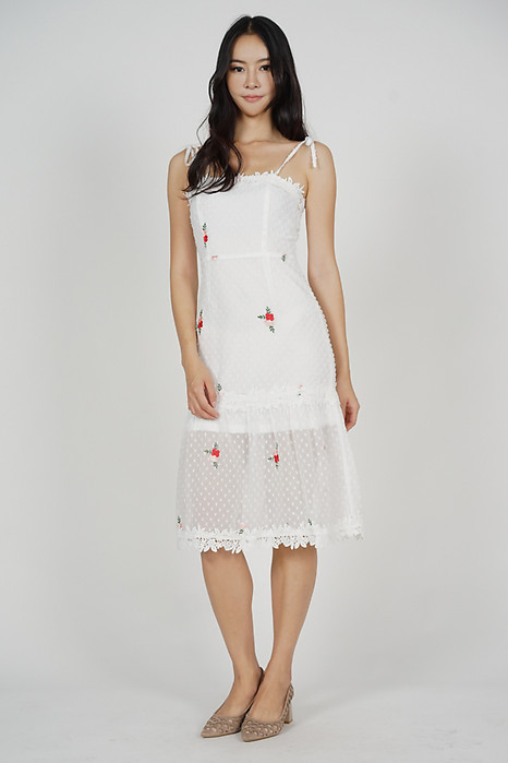 Naila Cami Dress in White Red Floral - Arriving Soon