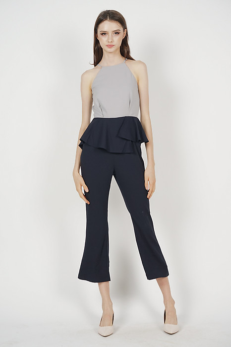 Janica Peplum Jumpsuit in Midnight