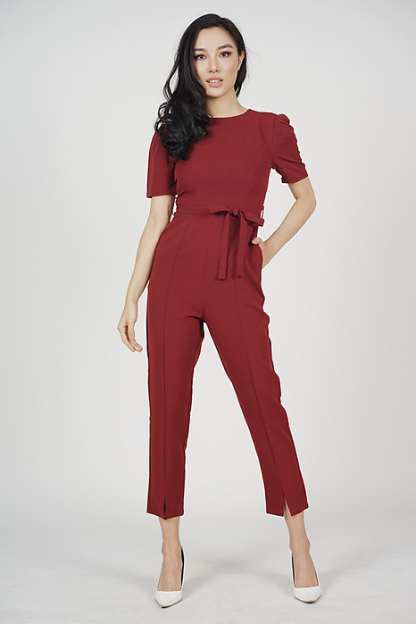 Dabria Pleated Jumpsuit in Oxblood