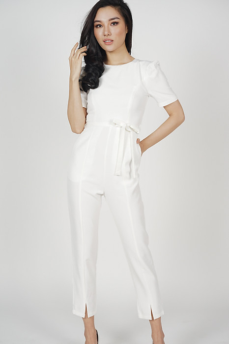 Dabria Pleated Jumpsuit in White