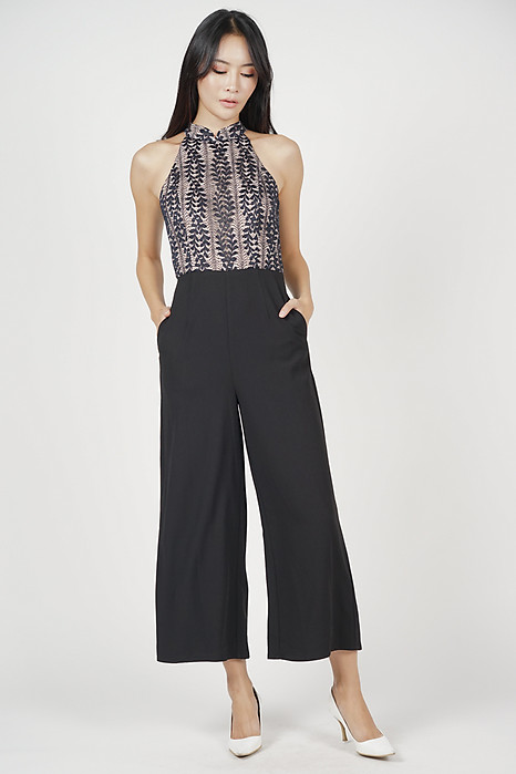 Adaris Lace Jumpsuit in Midnight