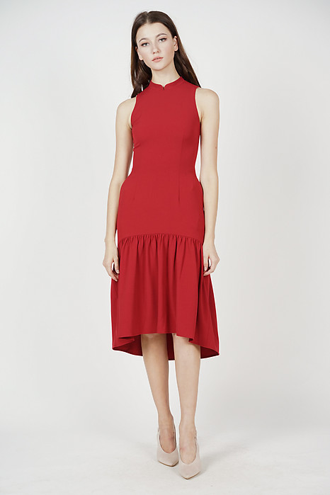 Kalerie Collared Dress in Red
