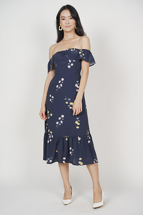 Orphea Ruffled Dress in Midnight Floral - Online Exclusive