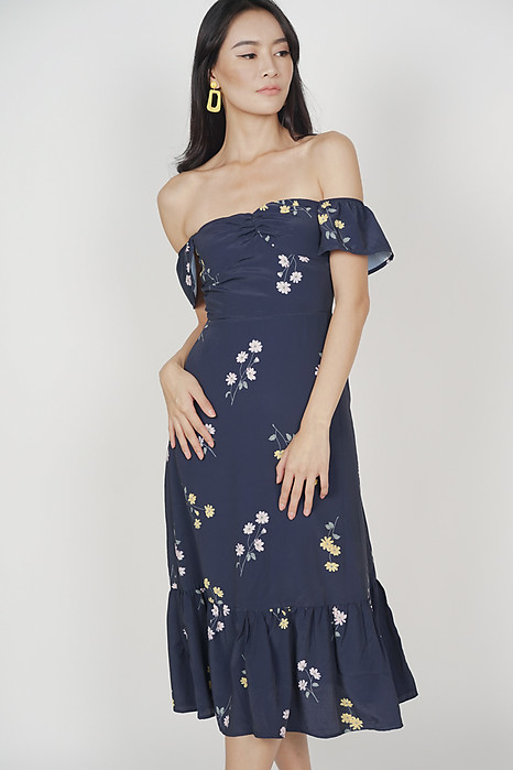 Orphea Ruffled Dress in Midnight Floral