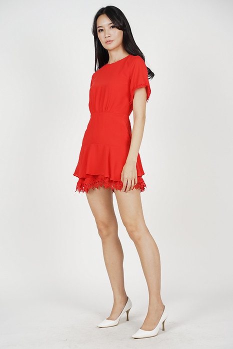 Jarlene Tiered Dress in Red