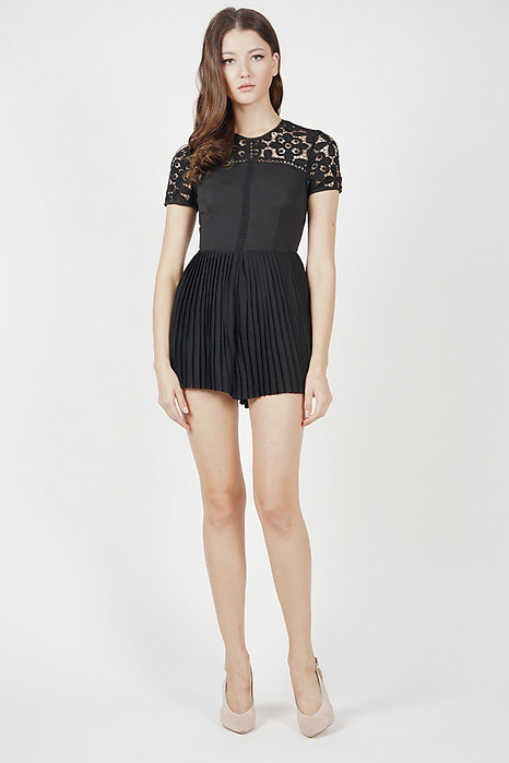 Erima Pleated Romper in Black - Online Exclusive