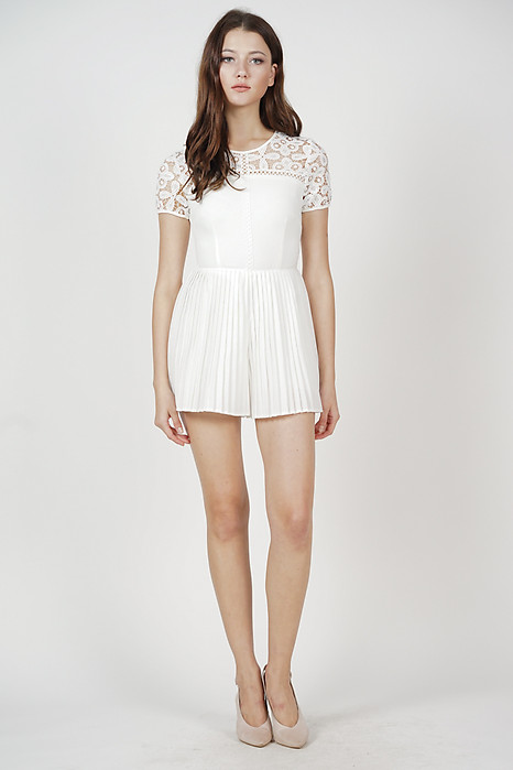 Erima Pleated Romper in White - Online Exclusive