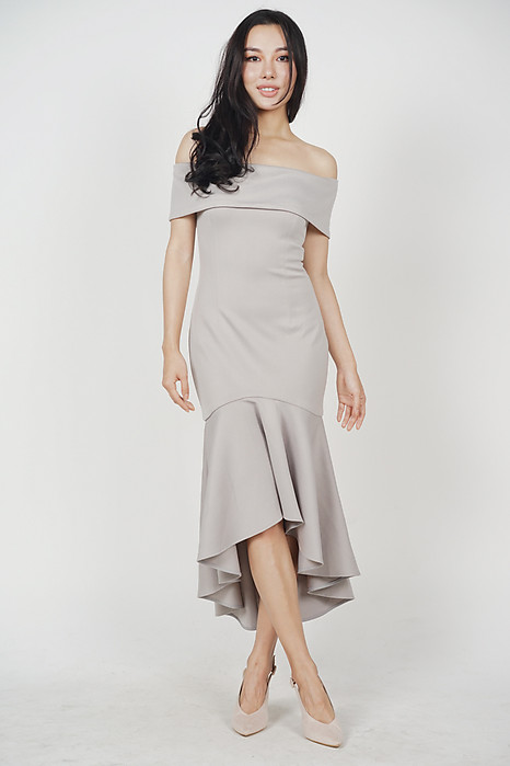 Stefania Ruffled-Hem Dress in Ash Grey