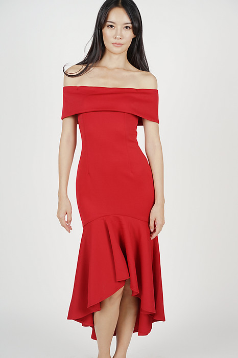Stefania Ruffled-Hem Dress in Red