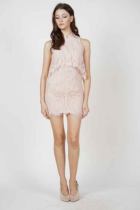 Dorian Lace Dress in Pink