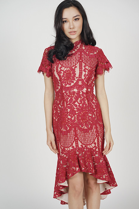 Anni Cheongsam Dress in Red