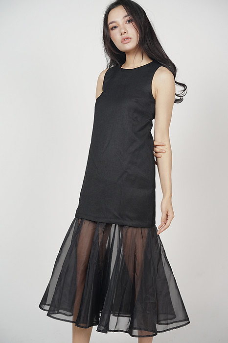 Ethonia Overlay Dress in Black - Arriving Soon