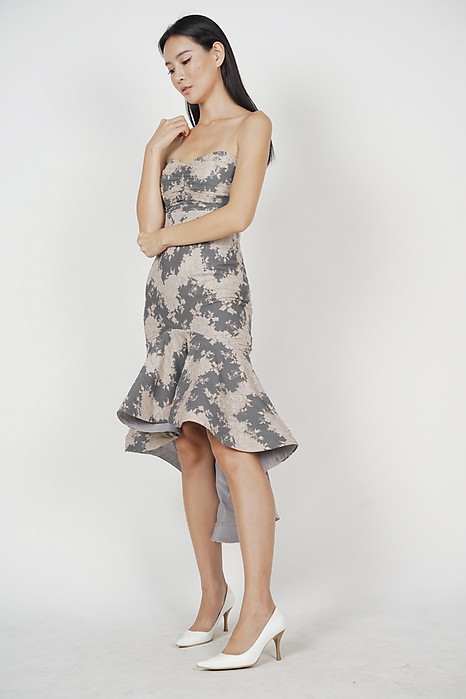Naini Mermaid Dress in Grey Pink