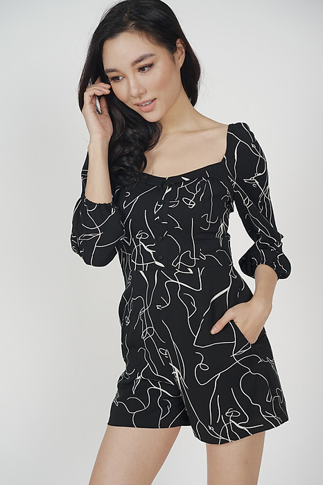 Ragna Sleeved Romper in Black