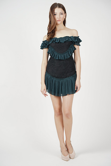 Celeste Frill Dress in Forest Green